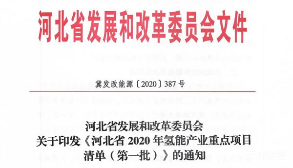 华通多个项目入选《河北省2020年氢能产业重点项目清单(第一批)》